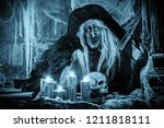 a portrait of a scary wizard... | Shutterstock . vector #1211818111