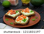 sandwiches with guacamole sauce ... | Shutterstock . vector #1211831197