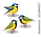set of happy cute blue tits... | Shutterstock .eps vector #1211844517
