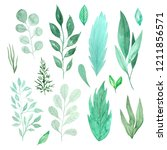 watercolor green spring leaves... | Shutterstock . vector #1211856571