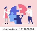 people connecting jigsaw pieces ... | Shutterstock .eps vector #1211860504
