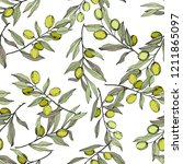 olive tree in a vector style... | Shutterstock .eps vector #1211865097