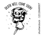 skull in old school tattoo style   Shutterstock .eps vector #1211868007
