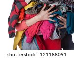 woman holding a huge pile of... | Shutterstock . vector #121188091