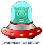 red ufo with green alien on... | Shutterstock . vector #1211892604