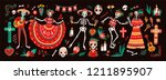 Stock vector collection of traditional day of the dead symbols skeletons dressed in folk mexican costumes 1211895907