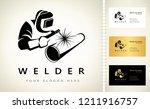 welder welds a pipe in welding...   Shutterstock .eps vector #1211916757