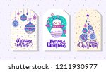 set of beautiful christmas tags ... | Shutterstock .eps vector #1211930977