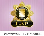 golden badge with barrel icon... | Shutterstock .eps vector #1211939881
