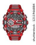 realistic red grey watch clock... | Shutterstock .eps vector #1211966884