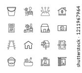 collection of 16 home outline... | Shutterstock .eps vector #1211967964