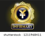 gold emblem with yuan icon and ... | Shutterstock .eps vector #1211968411