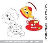 drawing worksheet for preschool ... | Shutterstock .eps vector #1211969197