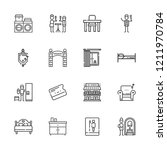 collection of 16 room outline... | Shutterstock .eps vector #1211970784