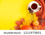autumn background of free space ... | Shutterstock . vector #1211975851