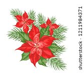 composition of red poinsettia...   Shutterstock .eps vector #1211984371