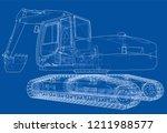 excavator concept outline.... | Shutterstock .eps vector #1211988577
