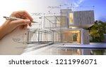 hand drafting a modern white... | Shutterstock . vector #1211996071