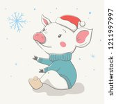 lovely cute cheerful piggy sits ... | Shutterstock .eps vector #1211997997