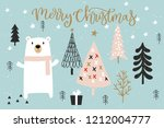 christmas card with calligraphy ... | Shutterstock .eps vector #1212004777