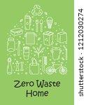 vector zero waste home icon set ... | Shutterstock .eps vector #1212030274