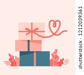 gift box with a ribbon in shape ... | Shutterstock .eps vector #1212039361