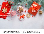 merry christmas background with ... | Shutterstock . vector #1212043117