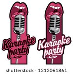 set of two vector stickers for... | Shutterstock .eps vector #1212061861
