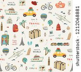 set of hand drawn travel doodle ... | Shutterstock .eps vector #1212068881