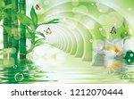 Stock photo  d illustration moderate green tunnel above the water green bamboo large white flower soap 1212070444