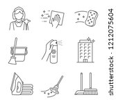 cleaning service linear icons... | Shutterstock .eps vector #1212075604