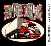 vector cartoon semi truck with...   Shutterstock .eps vector #1212075727