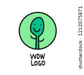 green plant smiling hand drawn... | Shutterstock .eps vector #1212075871