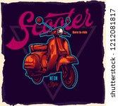 classic neon scooter. vector... | Shutterstock .eps vector #1212081817