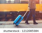tourist woman walking at... | Shutterstock . vector #1212085384