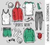 hand drawn set of men's...   Shutterstock .eps vector #1212088261