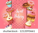 sweet bakery background with... | Shutterstock . vector #1212093661