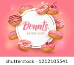 sweet background frame with... | Shutterstock . vector #1212105541