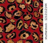 watercolor leopard skin pattern.... | Shutterstock . vector #1212112144
