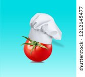 chef hat with tomato concept on ... | Shutterstock . vector #1212145477