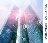 double exposure bitcoin and... | Shutterstock . vector #1212154237