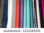 colorful fabric and stripy... | Shutterstock . vector #1212165241