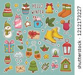 winter set. cute vector... | Shutterstock .eps vector #1212173227