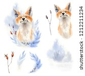 watercolor fox  illustration. ... | Shutterstock . vector #1212211234