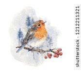 watercolor winter bird... | Shutterstock . vector #1212211321