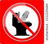 no sanitary pad down the toilet | Shutterstock .eps vector #1212235684