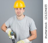 young male construction worker... | Shutterstock . vector #121224655