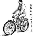 man on a bike | Shutterstock .eps vector #121224781