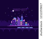 futuristic neon city vector... | Shutterstock .eps vector #1212255817