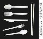 set of realistic plastic forks  ... | Shutterstock .eps vector #1212260134